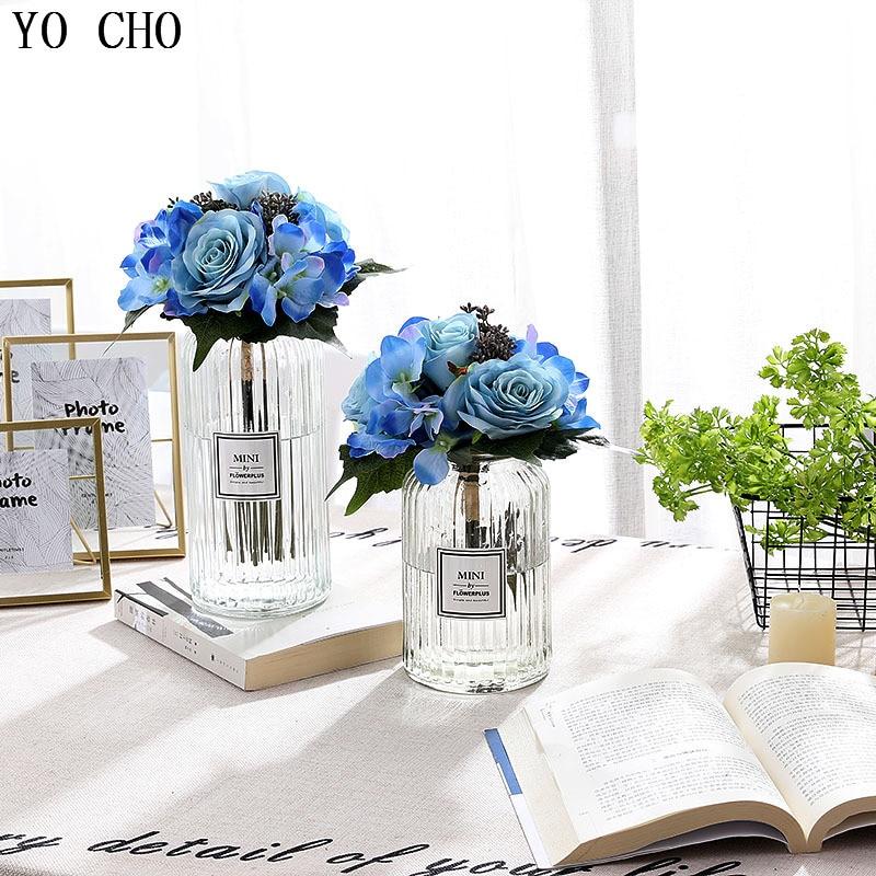 YO CHO Wedding Bouquet Artificial Flower Bridal Bouquet Wedding Bouquets For Bridesmaids Blue Roses Wedding Marriage Accessories