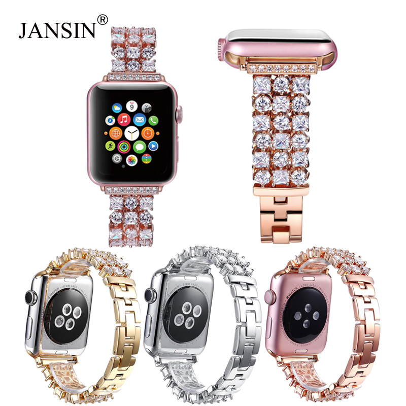 Luxury Diamond Strap For Apple Watch Series 5 4 40mm 44mm Bracelet Women Stainless Steel Band For IWatch Series 3 2 1 42mm 38mm