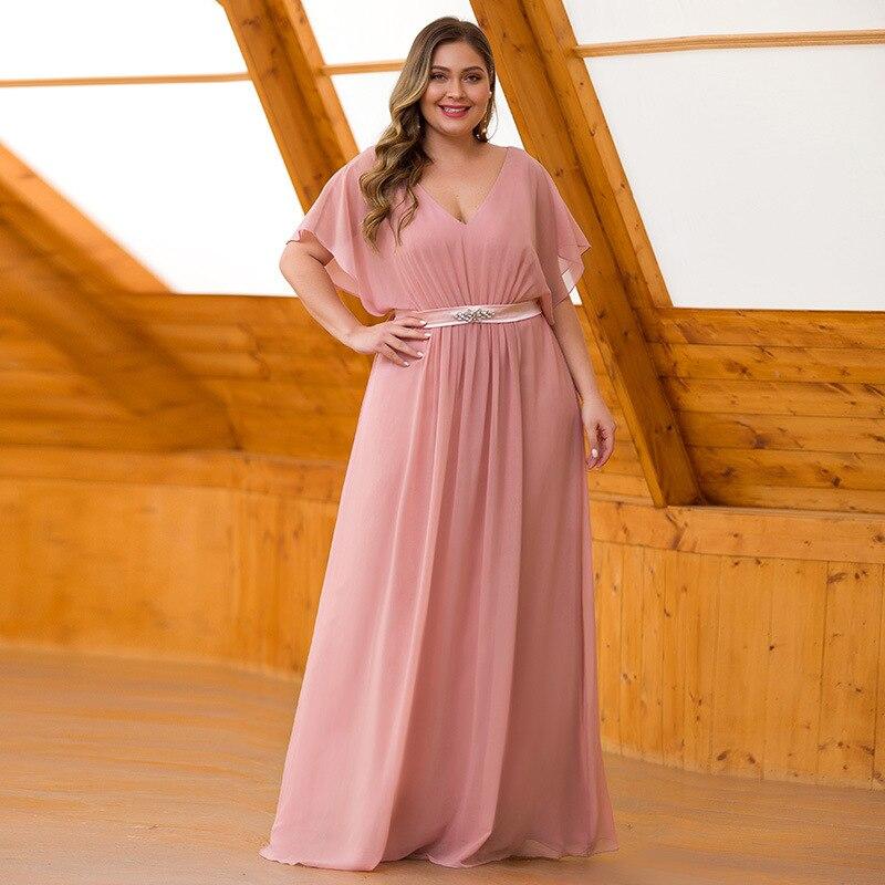 Plus Size V-neck Chiffon Bridesmaid Dress Short Sleeves V-neck Floor-length Dress With Sashes Vestidos De Fiesta De Noche