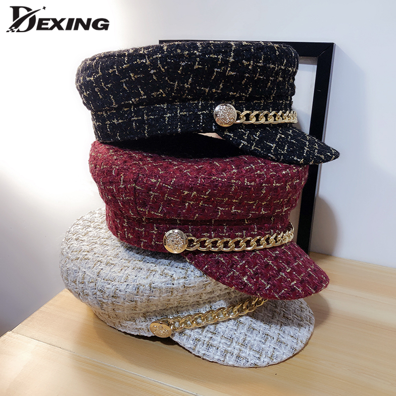 20190 Autumn Tweed Chain  Military Hat For Women Wool Winter Flat Army Cap Salior Hat Girl Visor Travel Berets Plaid Newsboy Cap