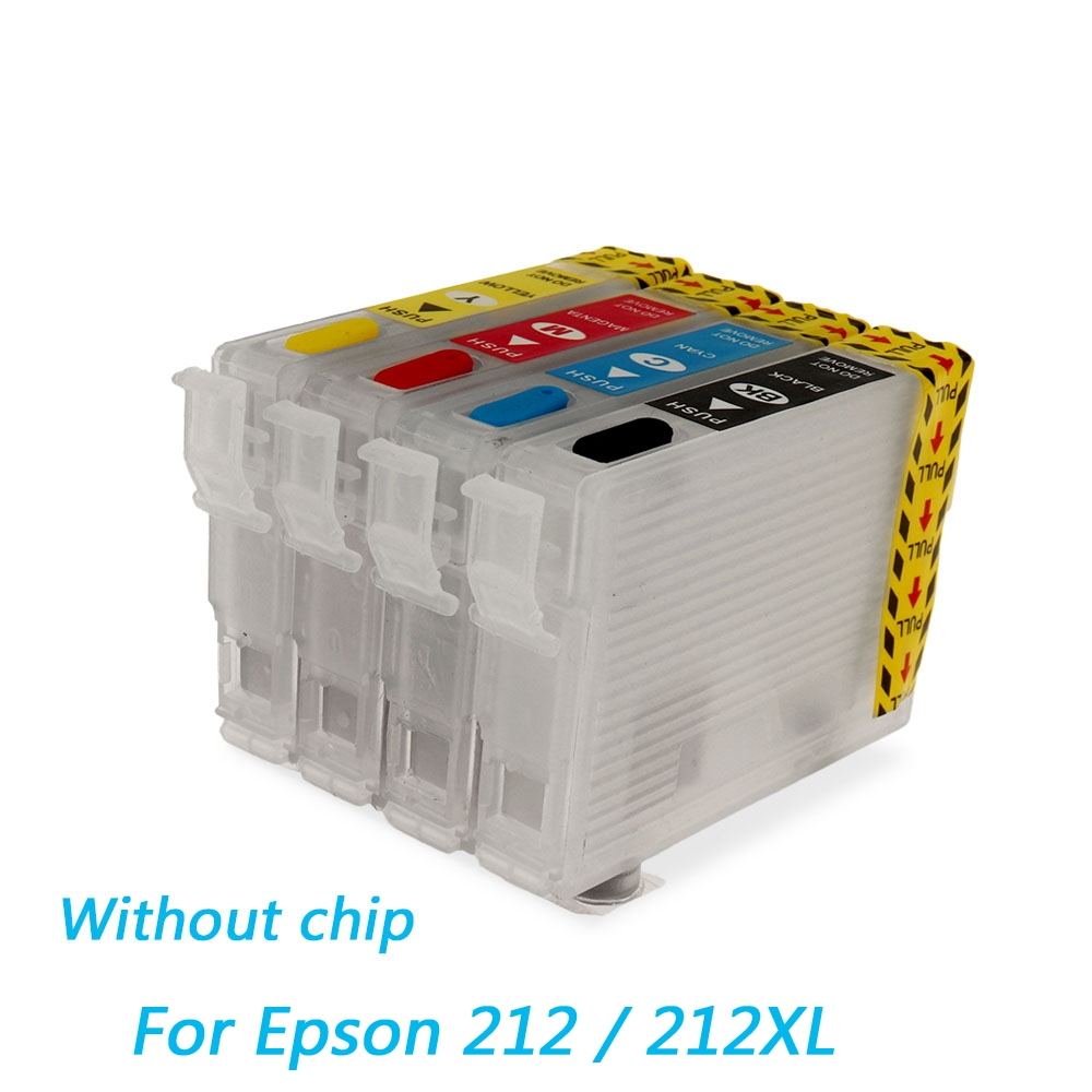 212 212XL Refillable Ink Cartridge For Epson Expression Home XP-4100 XP-4105 For Epson WorkForce WF-2830 WF-2850 Printer No Chip