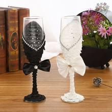 2 stücke Set Hochzeit Glas Kreative Schwarz Weiß Kleid Kristall Hochzeit Champagner Glas
