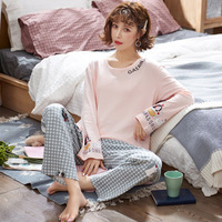 100% cotton long sleeve autumn winter Pajamas Set Long Sleeve Sleepwear Womens Button Down Nightwear Soft Pj Lounge Sets