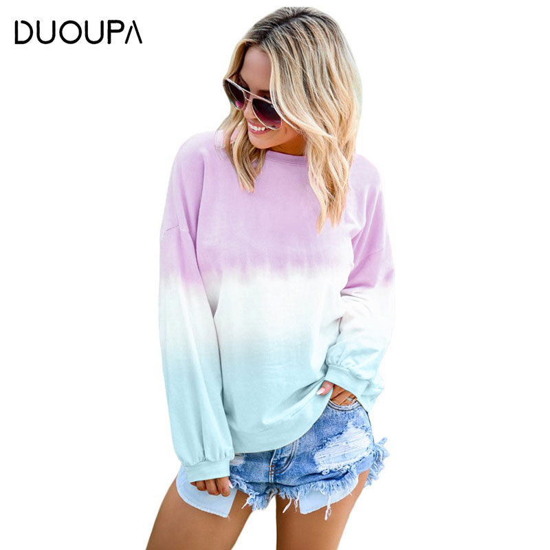 2019 Autumn and Winter Fashion Sweater Coat Trend Women 39 s Sweater Colorful Pullover Rainbow Gradient Print Long sleeved Sweater in Pullovers from Women 39 s Clothing