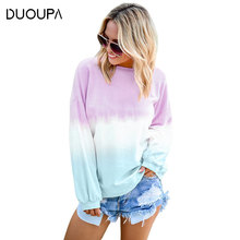 2019  Autumn and Winter Fashion Sweater Coat Trend Womens Colorful Pullover Rainbow Gradient Print Long-sleeved