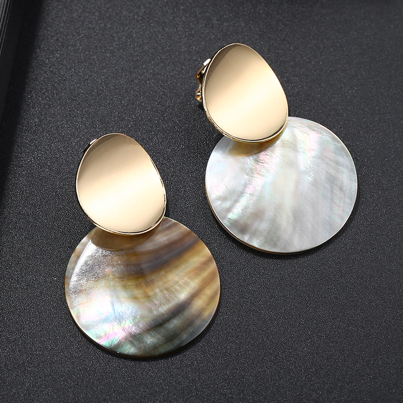 2019 New Design Golden Natural Round Shell Non Pierced Clip On Earrings Ear Clips For Women Bijoux Brincos Party Gift Jewellry