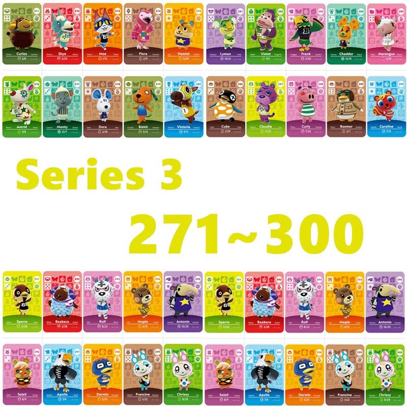 New Horizons Amiibo Card Work For NS Games Series 3 (271 To 300) Animal Crossing Amiibo Card