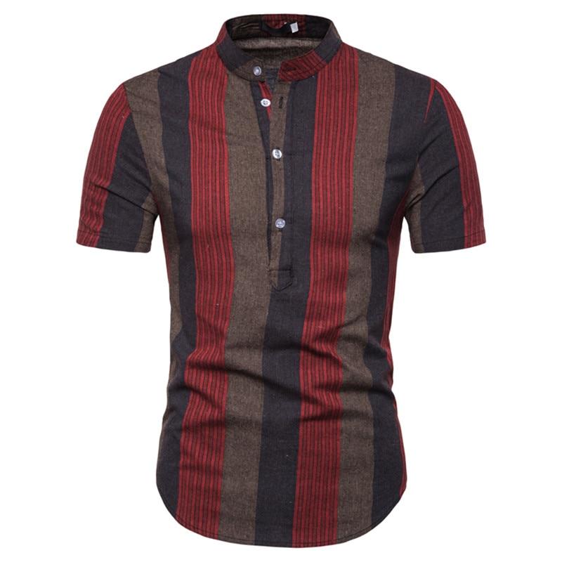Men Shirts Short Sleeve Fashion Stripe Flat Color Stand Collar Plus Size Casual Slim Fit Summer Shirt Tops Men Streetwear S-2XL
