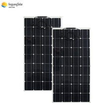中国柔軟なソーラーパネル 100 ワット 18v 太陽光パネルソーラーキャンプライト 12v バッテリー充電器、モノラル太陽電池オスとメスのコネクタ