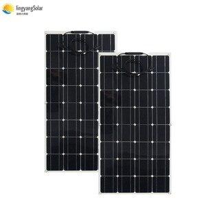 Image 1 - 中国柔軟なソーラーパネル 100 ワット 18v 太陽光パネルソーラーキャンプライト 12v バッテリー充電器、モノラル太陽電池オスとメスのコネクタ