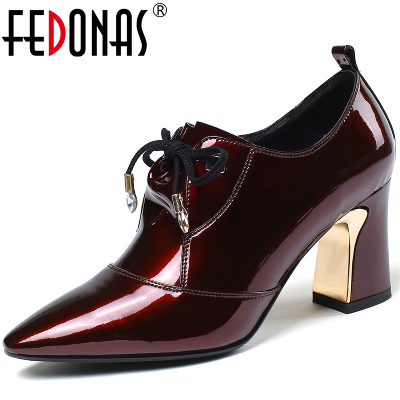 FEDONAS Women Pumps Patent Leather Party Shoes Prom Pumps Spring Summer Lace Up Side Zipper Square Toe 2020 Shoes Woman