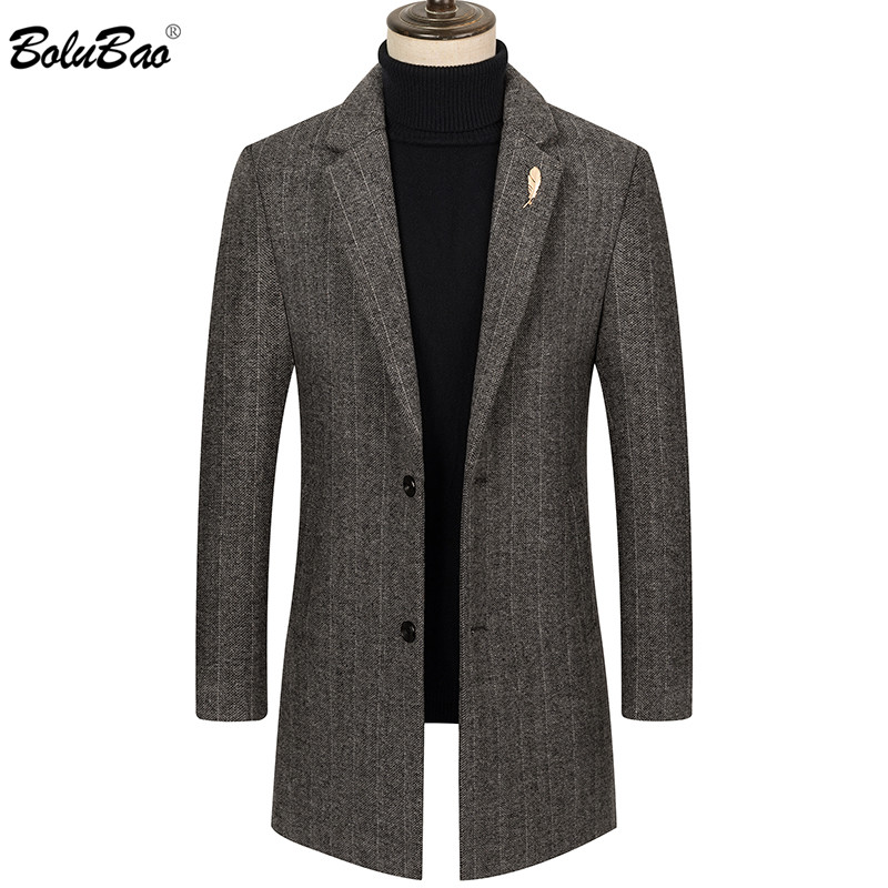 BOLUBAO Brand Winter Men Wool Blends Coats Quality Brand Men's Fashion Casual Long Section Overcoat Thick Warm Wool Coat
