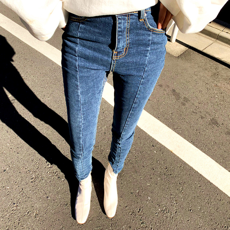 Autumn And Winter Irregular Stretch Stitching Denim Jeans Female Tight Tassel High Waist Pants Capris Ladies Skinny Jeans 2019