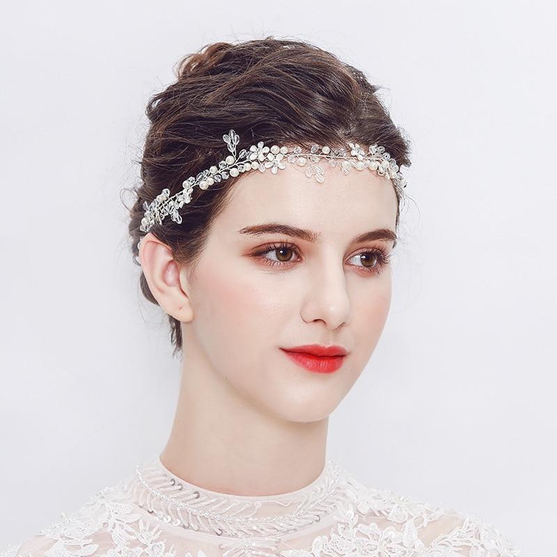 Wedding Headdress Hairband With Pearl And Crystal Wedding Tiara Hair Jewelry Handmade Wedding Hair Accessories TS90