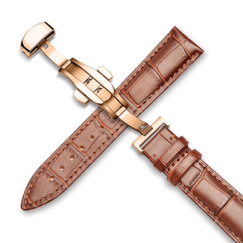Watchband Genuine Leather Straps 16mm 18mm 20mm 22mm 24mm  Men Women Watch Accessories Black Brown Butterfly Buckle Watch Bands