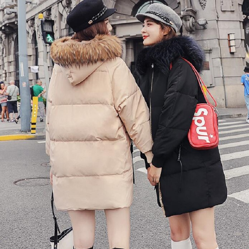 2020 New Big Fur Collar Grey Duck Down Jacket Women's Long Puffy Jackets Winter Womens Korean Coat Parka Sobretudo KJ455