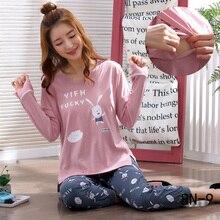 Послеродовая одежда для кормления, Осенняя пижама с длинными рукавами для беременных, Одежда для беременных из хлопка, Женский пижамный комплект для кормящих