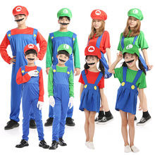 Cosplay Adults Kids Super Mario Bros Costume Halloween Party Fantasia Uniform MARIO & LUIGI Christmas Gifts Cos