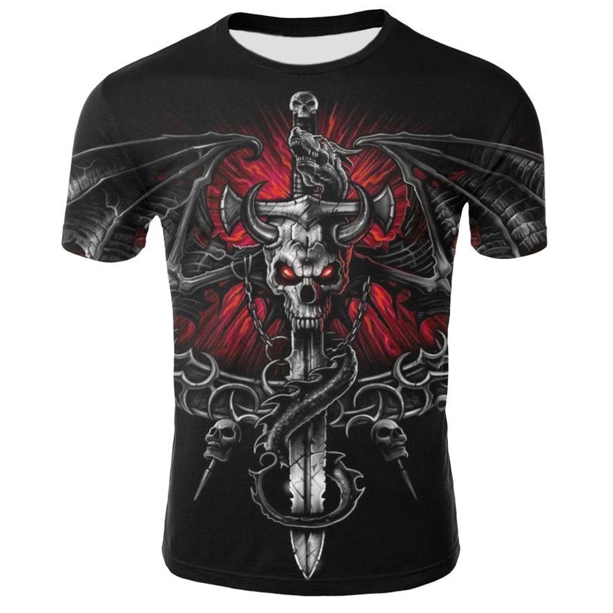 The New Skull T Shirt Men Short Sleeve Shirt Red T Shirts Bull Head Rock Dragon Streetwea  Mens Clothing