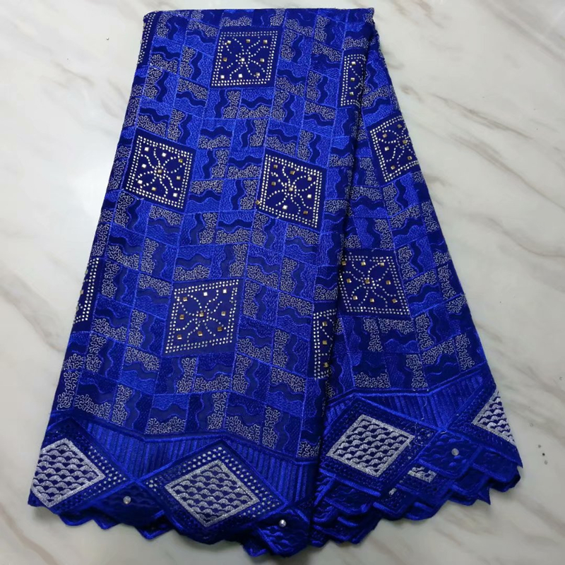 Latest African George Lace Fabric Beaded High Quality Royal Blue Nigerian French Wax Lace Fabric For Nigerian Wedding Party 2020