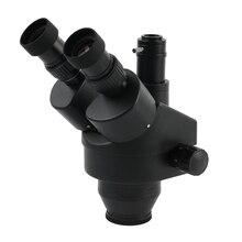 مجهر ستيريو ثلاثي العينيات رئيس المجهر الصناعي التكبير المستمر 7 45X عدسة مساعدة مسافة العمل