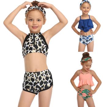 Zestaw dla dzieci Bikini dziewczynek Leopard strój kąpielowy wysokiej talii Bikini maluch strój kąpielowy dwuczęściowy strój kąpielowy dla dzieci strój kąpielowy tanie i dobre opinie Rubylong Pasuje prawda na wymiar weź swój normalny rozmiar Floral RL2019 spandex Summer swimsuit swimwear baby swimwear baby girls bikini