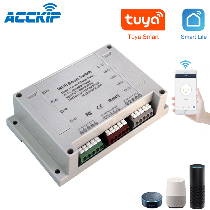 ACCKIP 4CH 4Gang Wifi Light Smart Switch 4 Channels Circuit Breaker IOS Android Tuya App Control interruptor wifi 4 canales ios|Smart Remote Control| |  - title=
