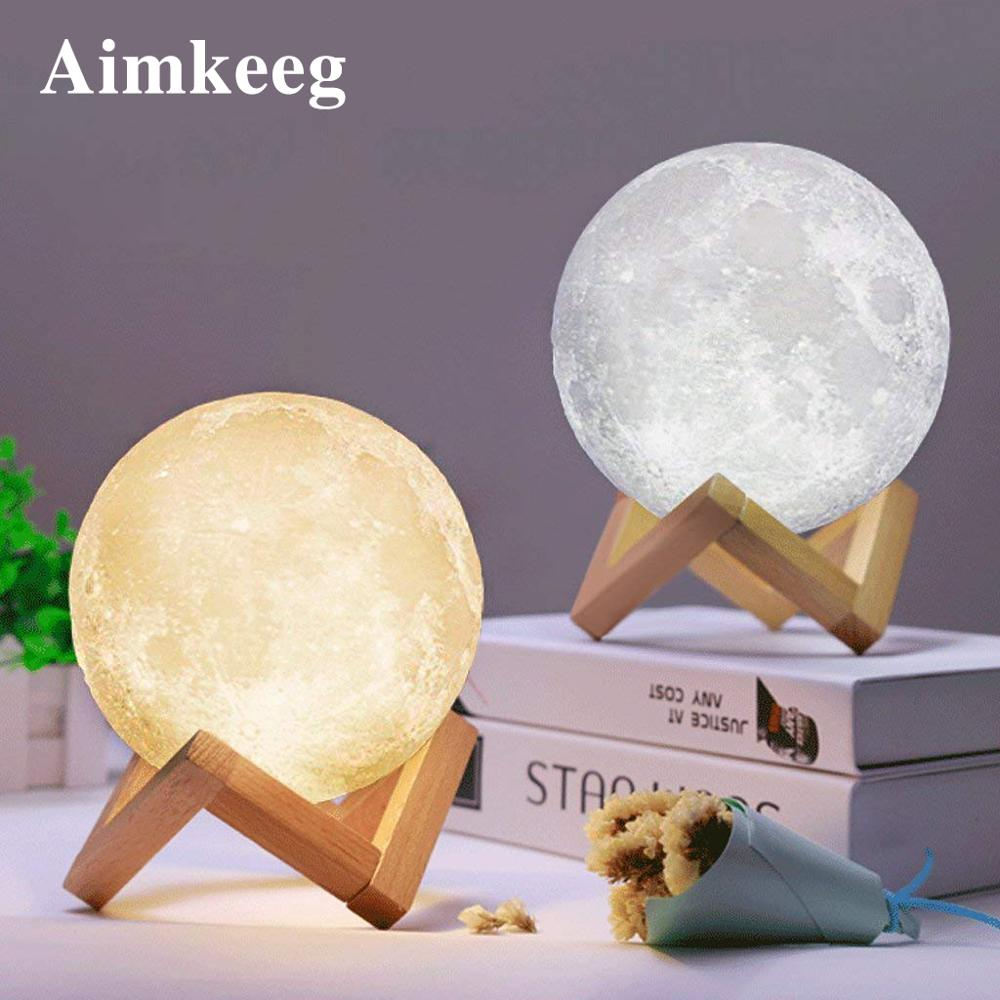 Aimkeeg USB Rechargeable 3D Print Moon Lamp 2 Color Change Touch Switch Bedroom table Night Light Home Decor Creative Gift