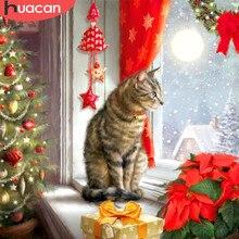 Huacan diy pintura diamante 5d natal gato presente feito à mão quadrado completo/redondo diamante bordado venda inverno casa arte da parede decoração