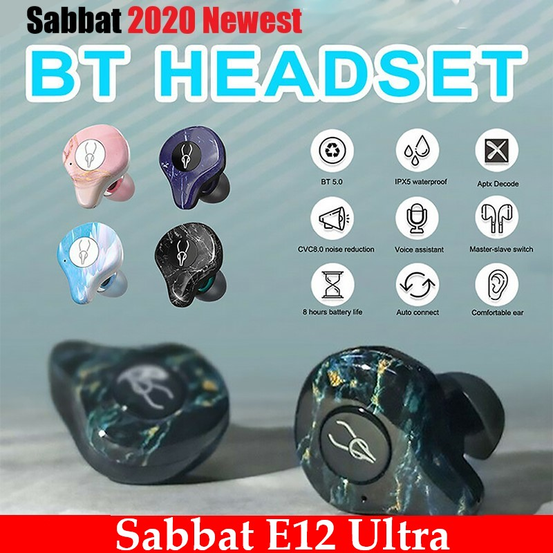 Sabbat E12 Ultra Bluetooth 5.0 TWS Wireless earphone Charging Box mini Portable Invisible earphones Waterproof Stereo TWS PK X12 image
