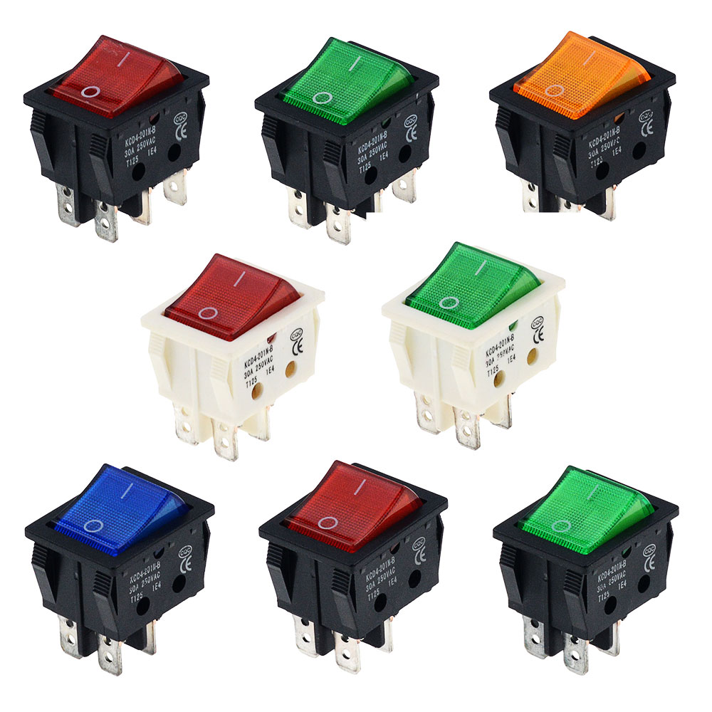 1PCS KCD4 Rocker Switch ON-OFF 2 Position 4 Pins 6 Pins Electrical equipment With Light Switch 30A 250VAC For Electric oven