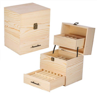 Makeup Tool Essential Oils Storage Box 3 Tier Wooden Oil Bottle Drawer Display Container Home Toiletry Tool Kit
