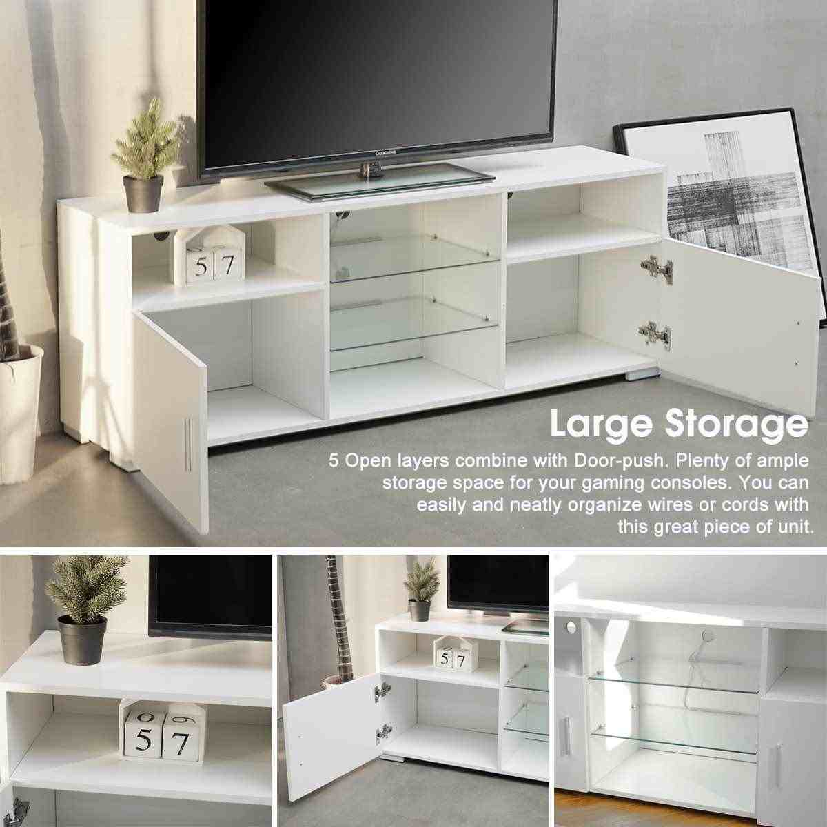 57/'/' TV Stand Cabinet Unit Media Storage Console Table w//LED Light Shelves White