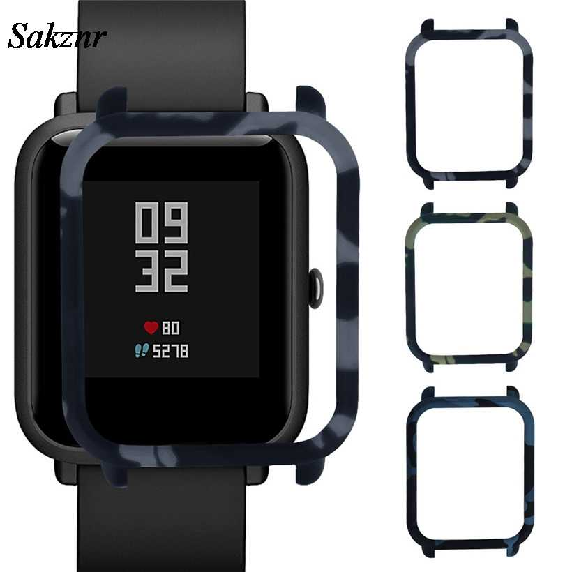 SAKZNR Fashion Camouflage Pattern Slim Frame PC Case Cover Protect Shell For Huami Amazfit Bip Younth Watch Men