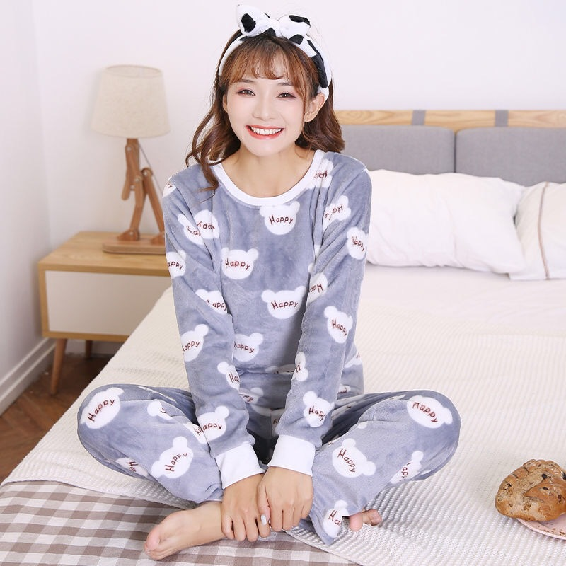 Autumn And Winter Flannel Pajamas Women's Brushed And Thick Crew Neck Long Sleeve Coral Velvet Warm Cartoon Cute Outer Wear Trac