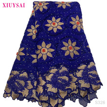 Lace-Fabric African Dress Guipure-Cord Stone Blue French Nigeria High-Quality with