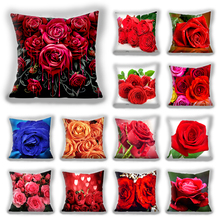 Red flower cushion cover Polyester Throw Pillow Case Super Soft Short Plush Cushion Cover Festive Home Decorative Cushions