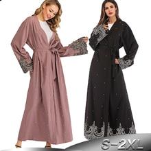 여성을위한 라마단 Abayas 이슬람교 Hijab 복장 Caftan 기모노 카디건 Abaya Kaftan 두바이 카타르 아랍 에미리트 연방 오만 가운 Femme 이슬람 의류