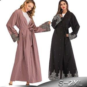 Image 1 - Ramadan Abayas For Women Muslim Hijab Dress Caftan Kimono Cardigan Abaya Kaftan Dubai Qatar UAE Oman Robe Femme Islamic Clothing