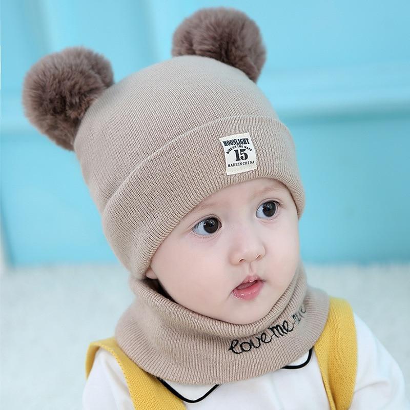 Wool Knitting New Warm Newborn Cute Lovely Hat Winter Children Baby Boys Girls Scarf Hat  Two Piece Set
