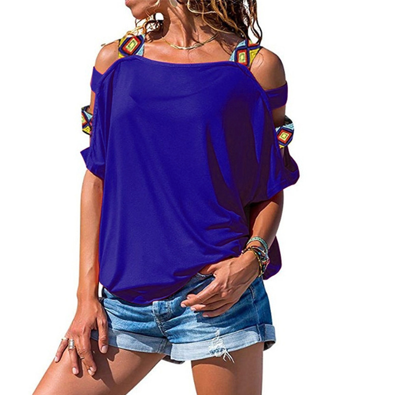 Summer Women Sexy Solid Color Short Sleeve Vest 2019 Fashion Ladies Casual Hollow Off Shoulder Bandage T Shirt Top Streetwear in T Shirts from Women 39 s Clothing