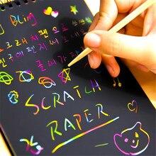Art-Painting Cardboard Scratch-Notebook 10-Sheets Doodle DIY Magic Learningtoys Fun Black