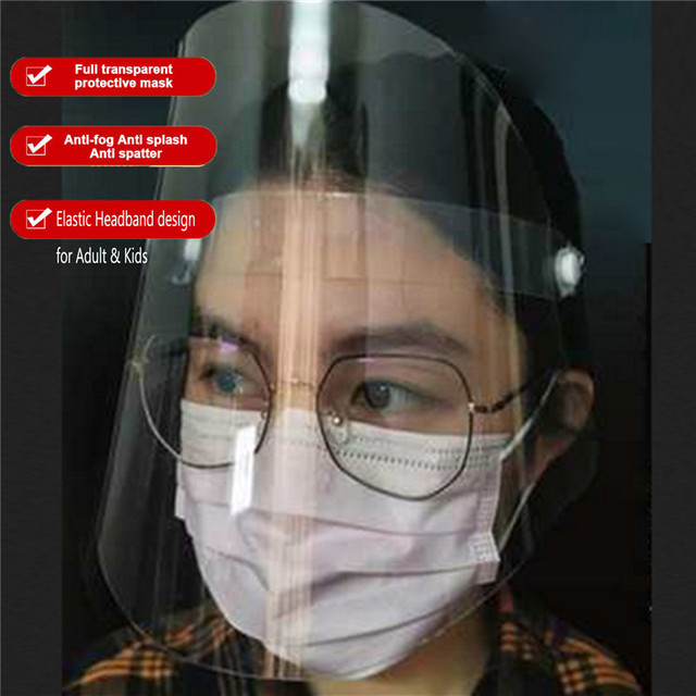 1Pc Safety Adjustable Full Face Shield Clear Flip-Up Visor Plastic Anti-Spitting Saliva-proof Dust-proof Protective Mask 5