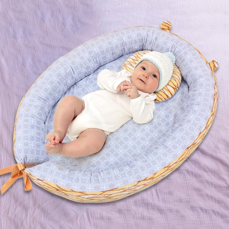 Portable Infant Crib With Pillow Newborn Toddler Safety Folding Breathable Anti-skid Cartoon Cradle Portable Crib Sleeping Bed