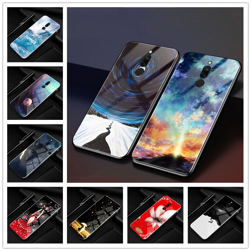 Phone Case For Xiaomi Redmi <font><b>8</b></font> Cover <font><b>6.22</b></font> Tempered Glass Hard Back Cover For Xiaomi Redmi <font><b>8</b></font> Case Redmi8 Phone Cases Redmi <font><b>8</b></font> Funda image