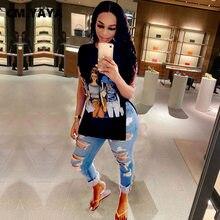 CM.YAYA – t-shirt à manches courtes et col rond pour femmes, avec fente latérale, à la mode, imprimé sur le devant, Vintage, hauts 2021