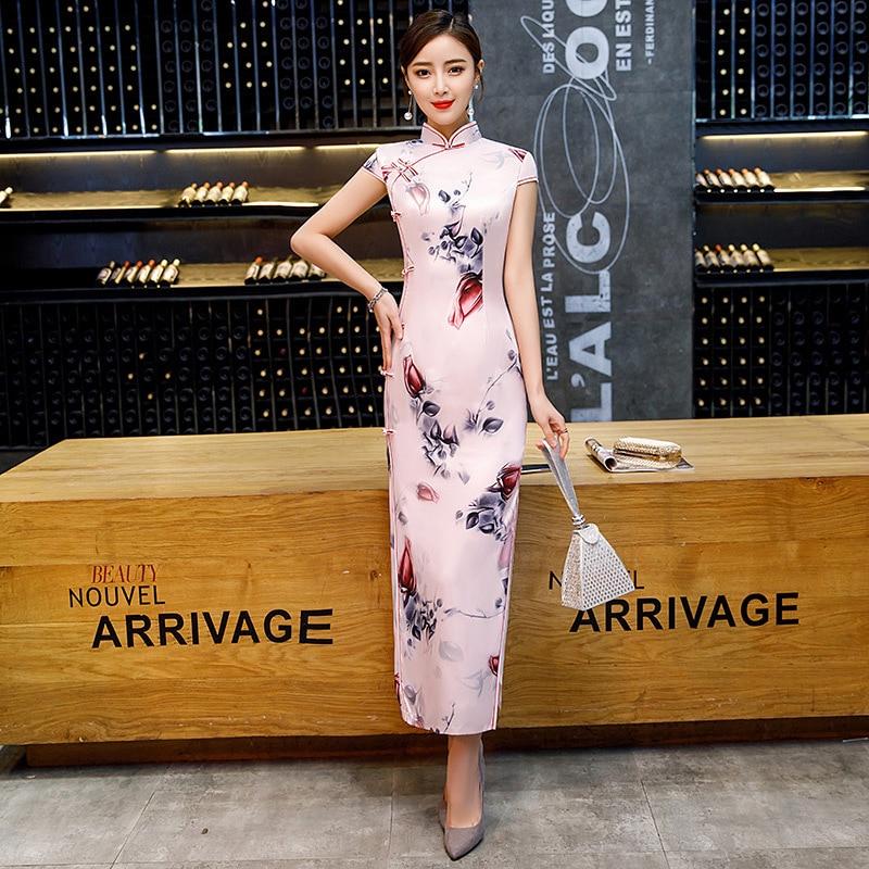 SHENG COCO Ladies Rose Flowers Long Dress Qipao Pink Cheongsam Banquet Dress Chinese Wedding Qipao Oriental Style Collar 3XL 4XL