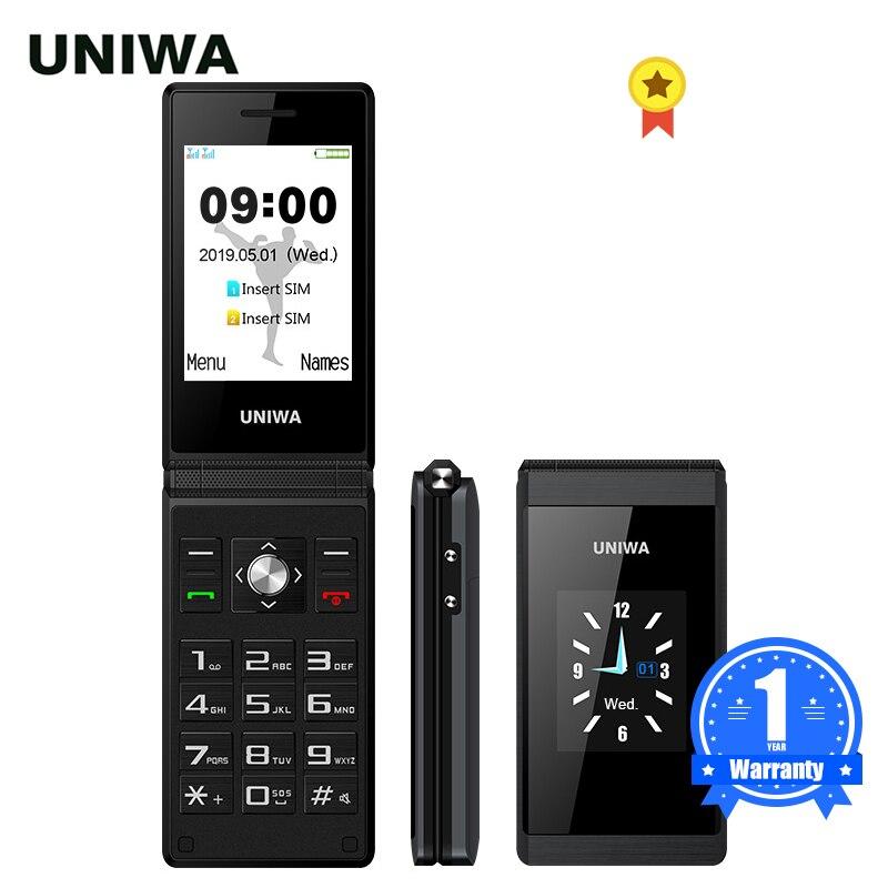 UNIWA X28 Senior Flip Mobile Phone GSM Big Push-Button Flip Phone Dual Sim FM Radio Russian Hebrew Keyboard Clamshell Cellphone