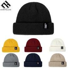 Evrfelan, модные вязаные шапочки для мужчин, шапки дыни, зимняя шапка, мужские шапочки, Skullies, теплые шапки в стиле хип-хоп, зимние шапки унисекс