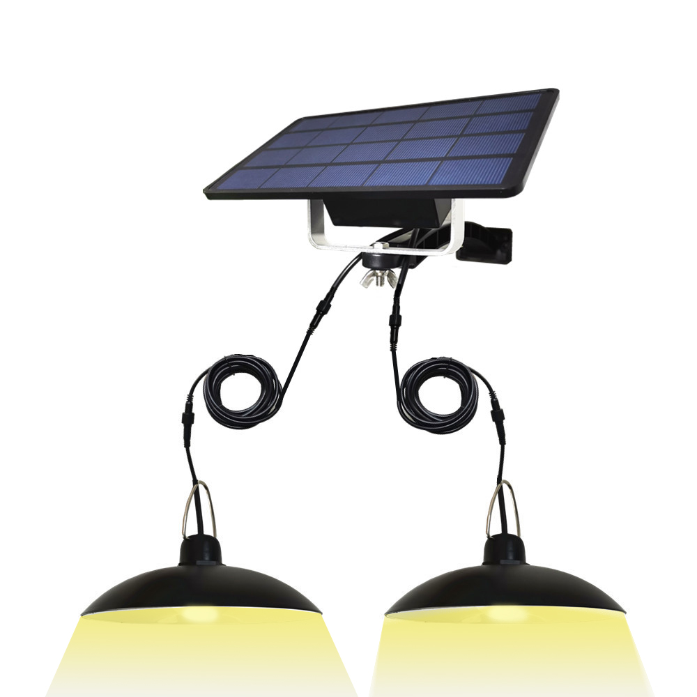 Dual Heads LED Solar Light Outdoor/Indoor Emergency Light With 3M Extension Cable Waterproof For Camping Terrace Tent Chandelier
